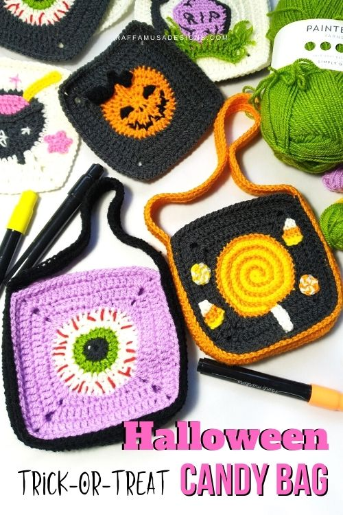 How to Crochet an Easy and Scary Halloween Trick-or-Treat bag using Granny Squares