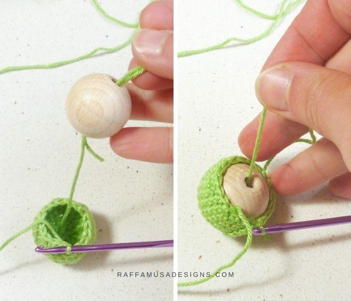 Crochet Wooden Beads - Free Tutorial - Step 3 - Raffamusa Designs