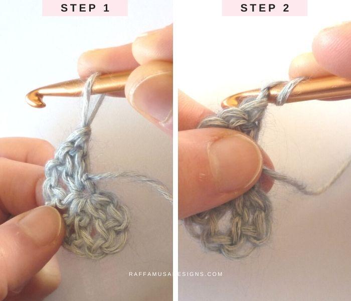 Chainless Double Crochet - Steps 1 and 2 - Raffamusa Designs
