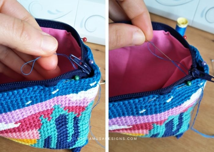 Hand sew the zipper and lining to the top of the crochet pouch - Raffamusa Designs