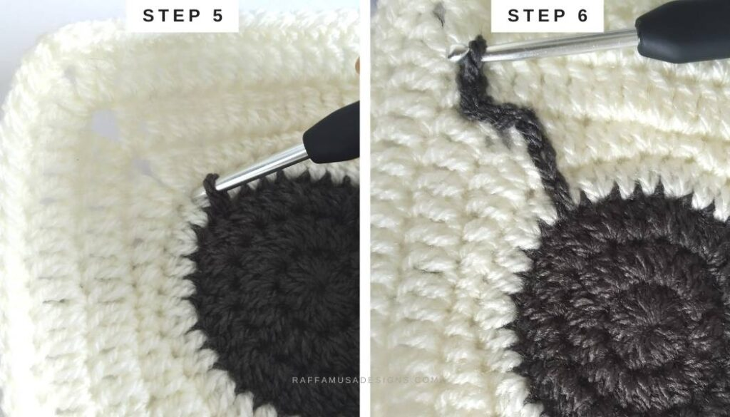 How to Surface Crochet - Steps 5 and 6 - Raffamusa Designs