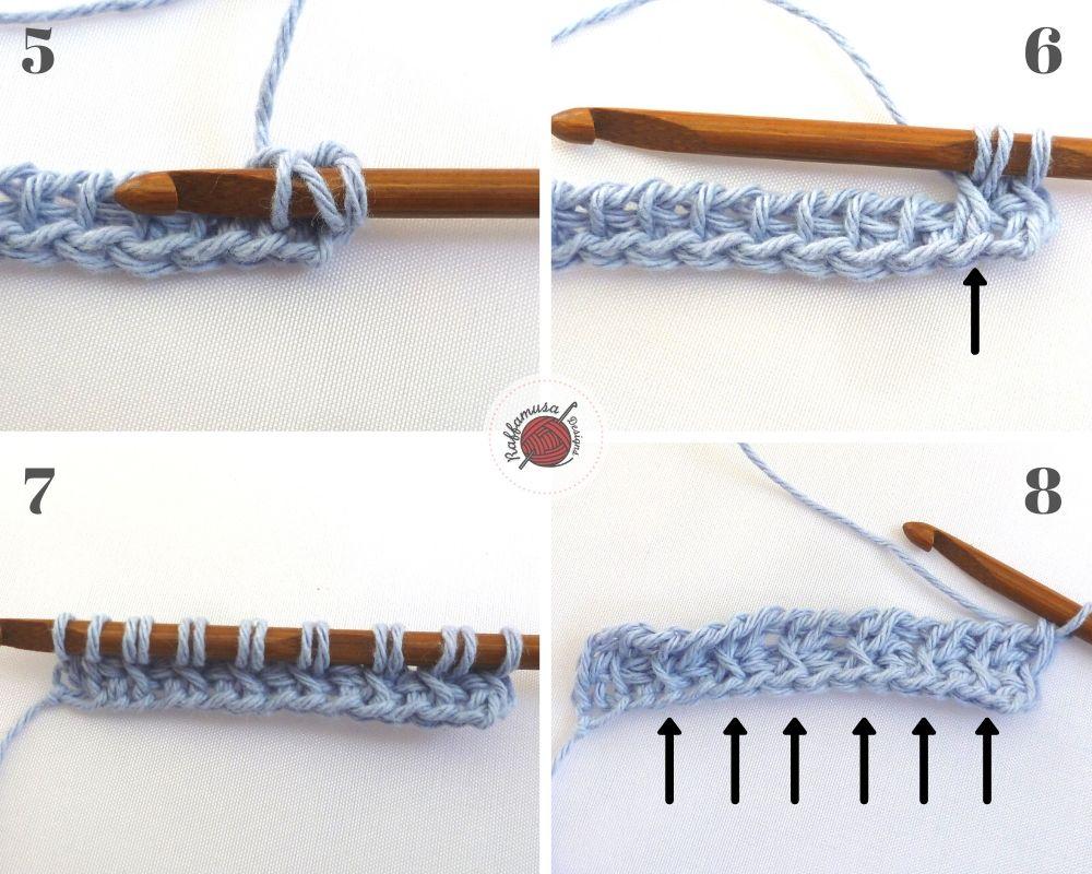 How to crochet the Tunisian crochet Cross stitch, part 2