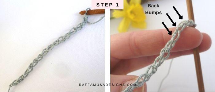 How to Make a Tunisian Crochet Foundation Row - Step 1 - Free Tutorial - Raffamusa Designs