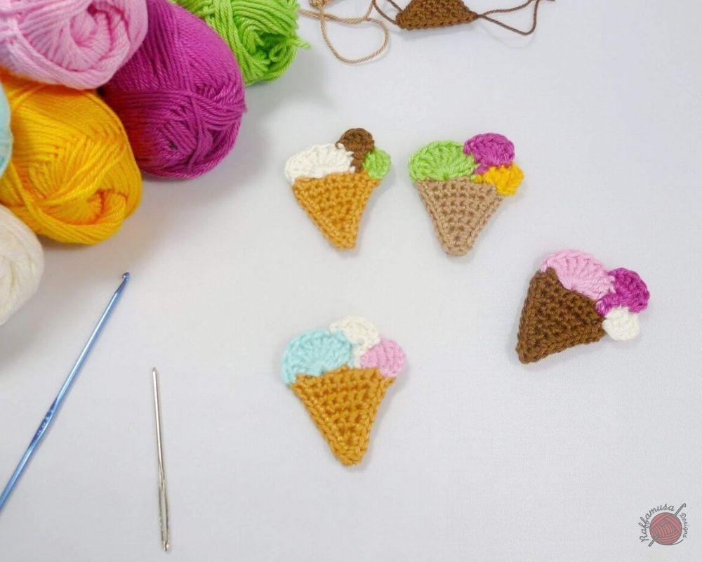 Ice Cream Crochet Applique - Free Pattern by RaffamusaDesigns