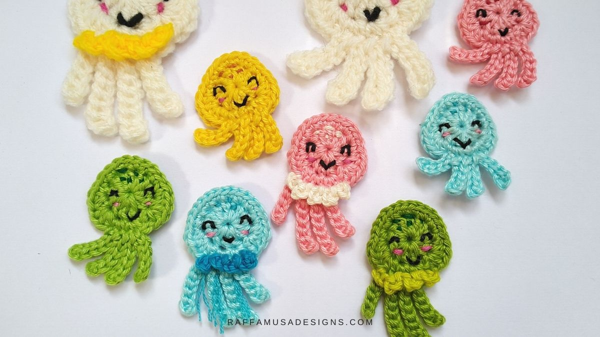 Crochet Jellyfish and Octopus Appliques - Free Patterns by Raffamusa Designs
