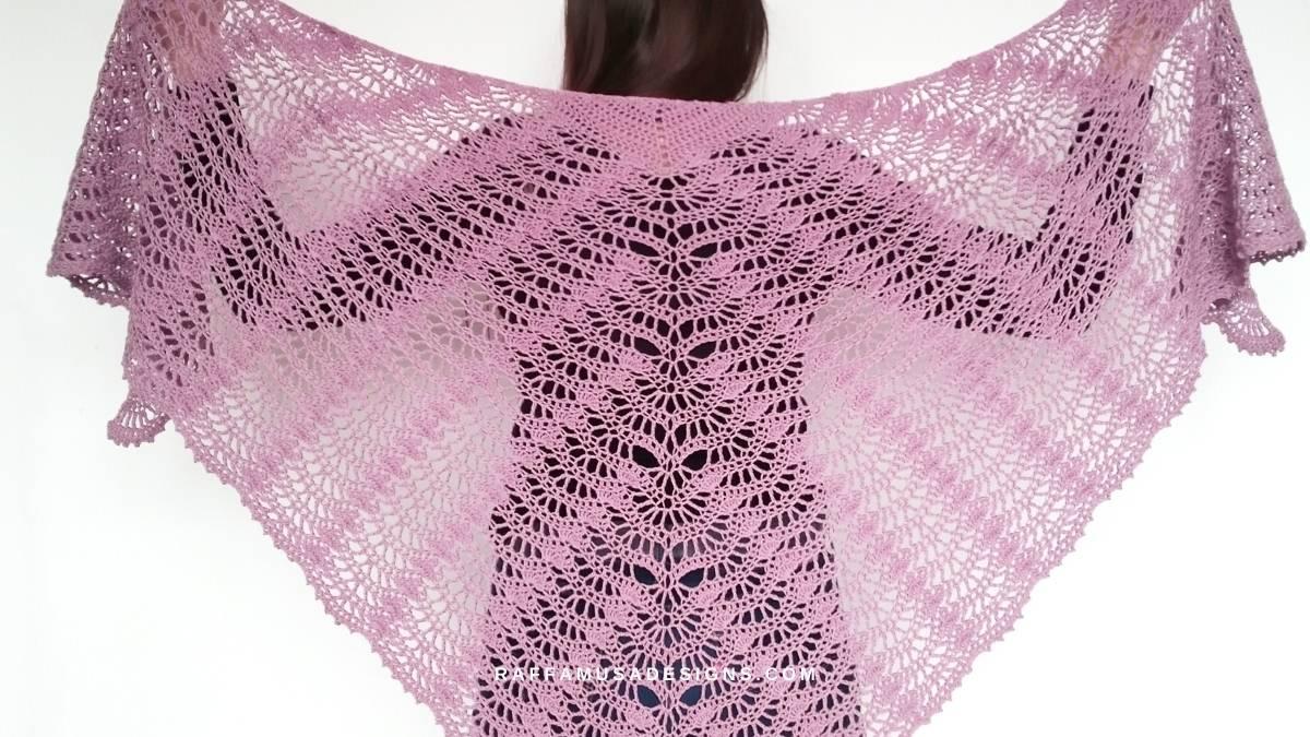 Lace Fan Crochet Shawl - Raffamusa Designs