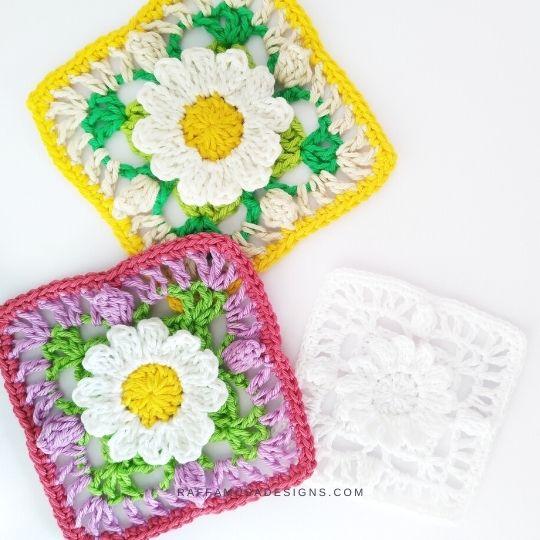 Lacy Daisy Granny Squares - Free Crochet Pattern - Raffamusa Designs