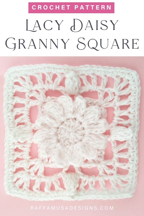 Lacy Daisy Granny Square - Free Crochet Pattern - Raffamusa Designs