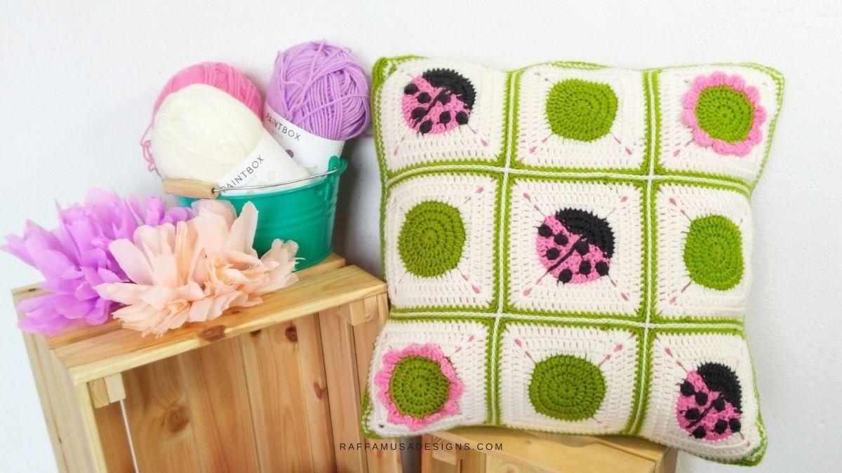 Ladybug Crochet Granny Square Pillow - for the Nursery Decor - Free Crochet Pattern - Raffamusa Designs