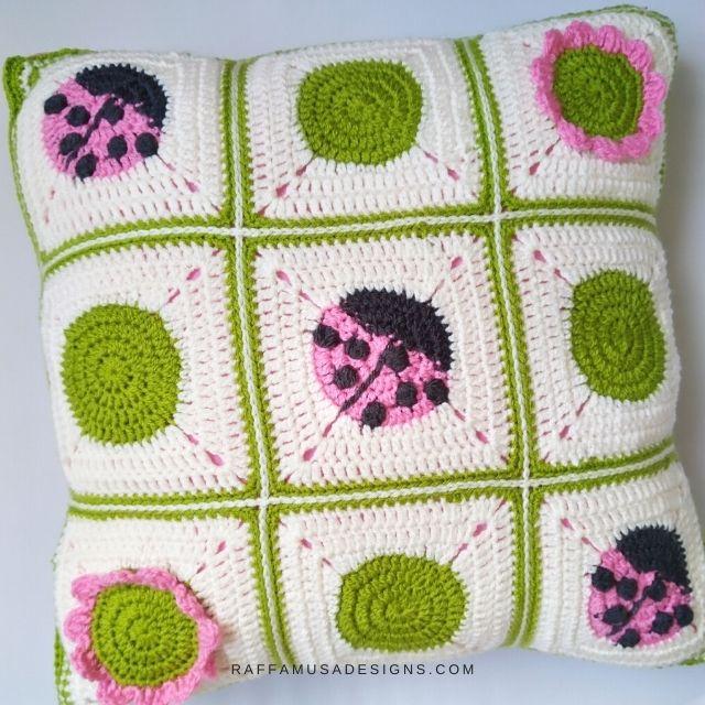 ladybug granny square pillow