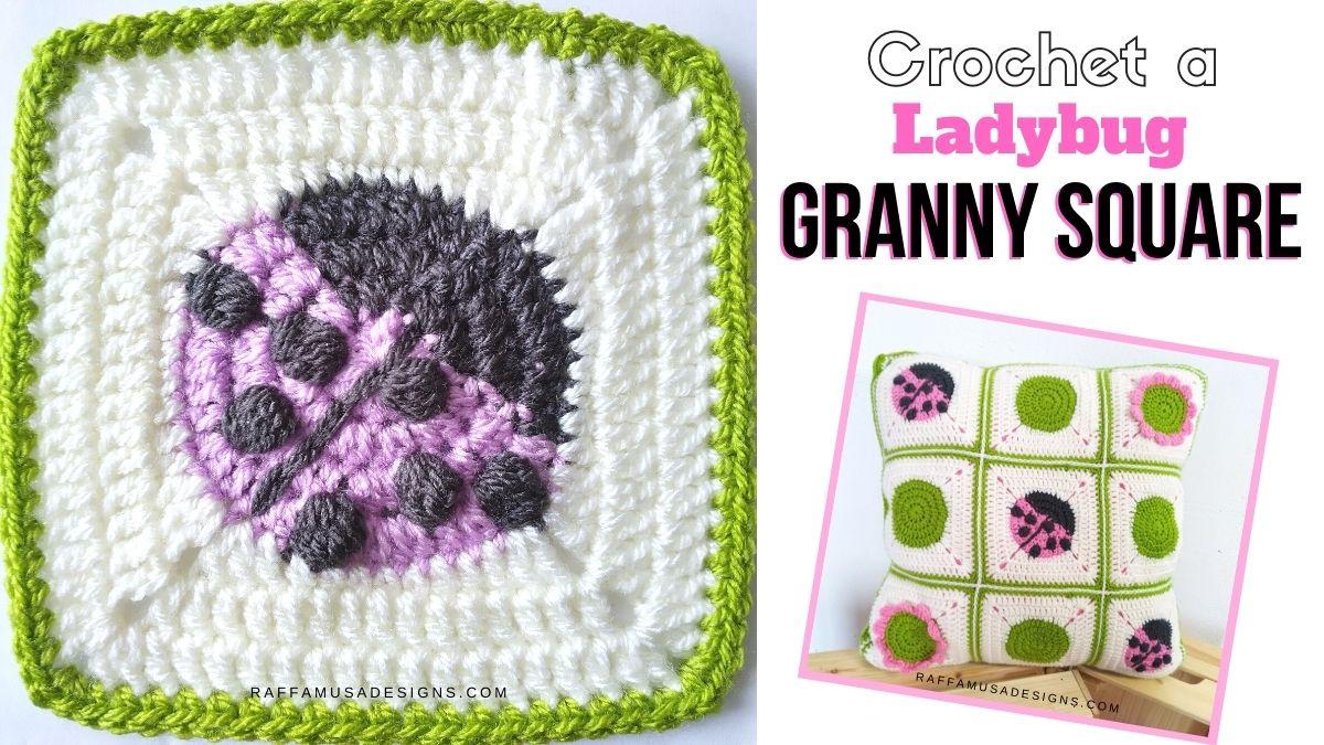 Ladybug Granny Square - Free Crochet Pattern and Tutorial - Raffamusa Designs