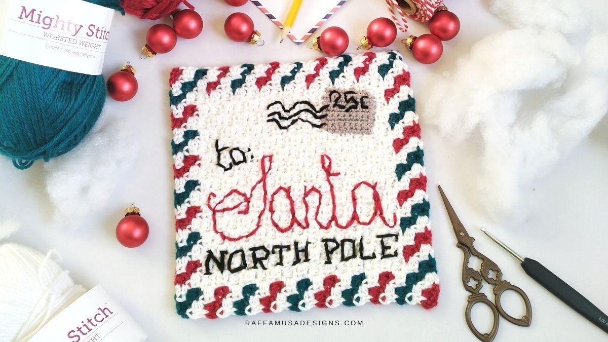 Letter to Santa Crochet Afghan Square - Free Crochet Pattern - Raffamusa Designs