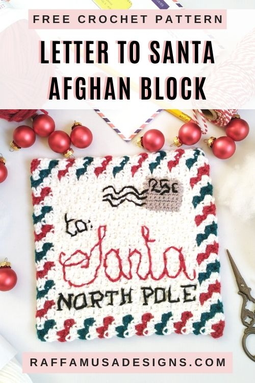 Letter to Santa Crochet Square - Free Mini-C2C Crochet Pattern