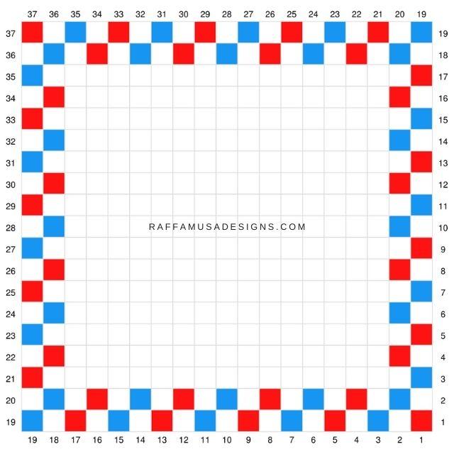 Color graph of the mini C2C Letter to Santa Crochet Square pattern.