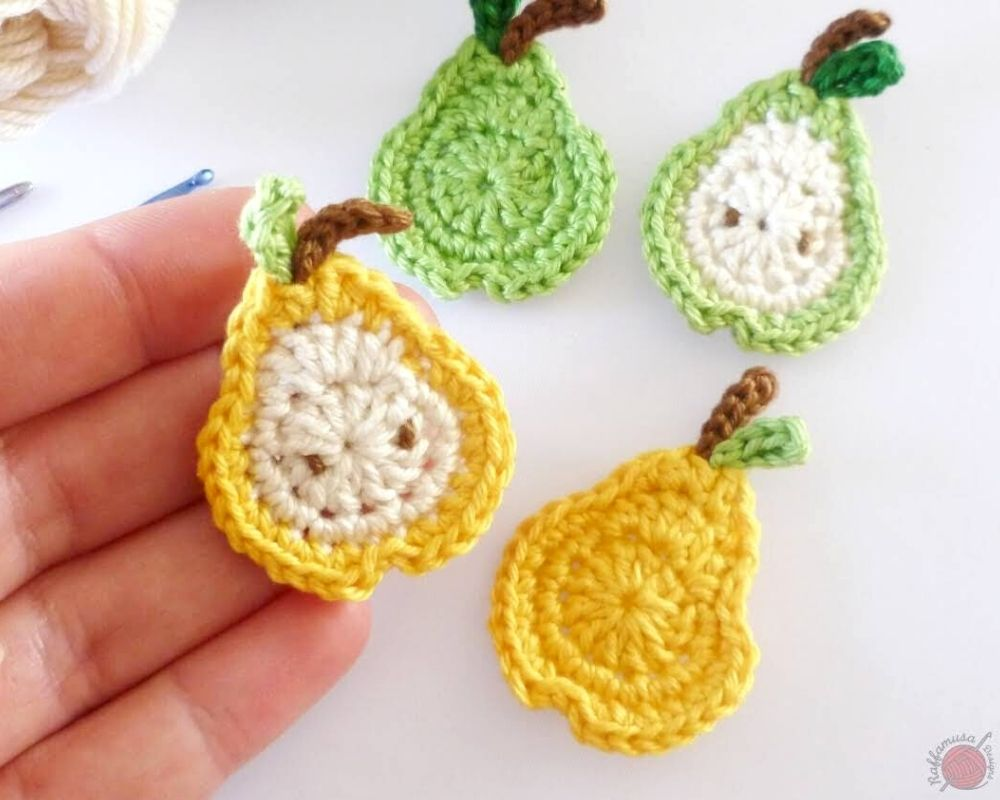 Little Pear Crochet Applique - Free Pattern by RaffamusaDesigns
