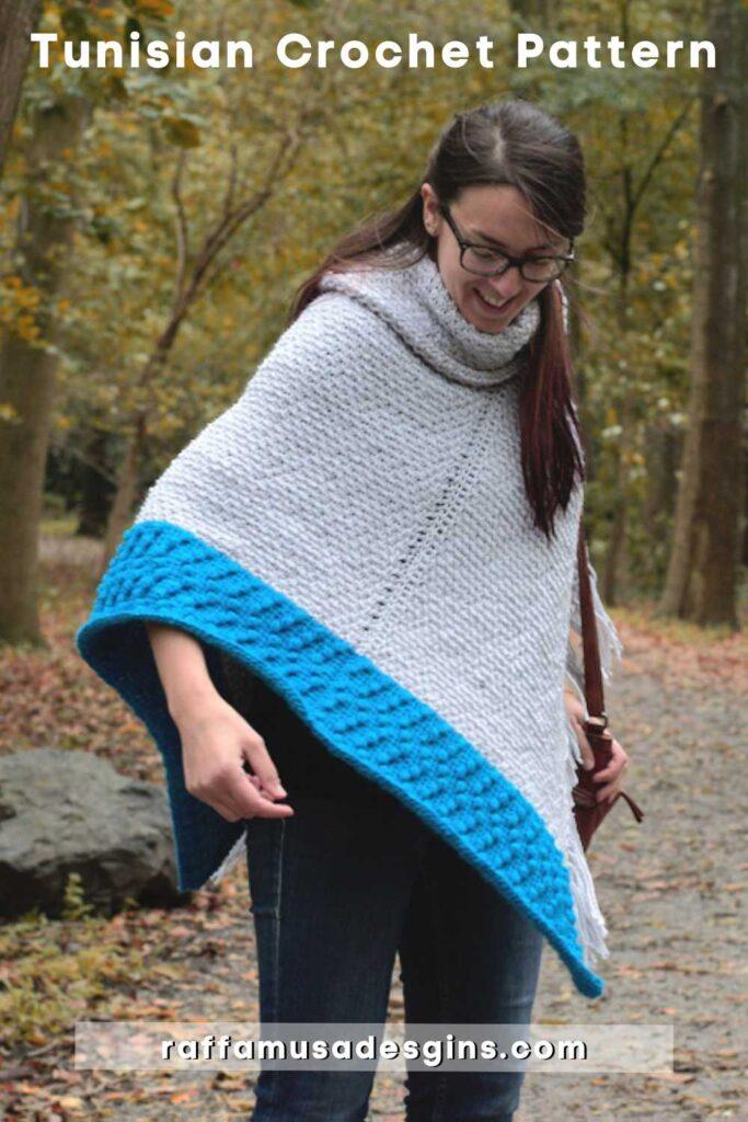 Tunisian Crochet Misty Grey Poncho - Free Crochet Pattern