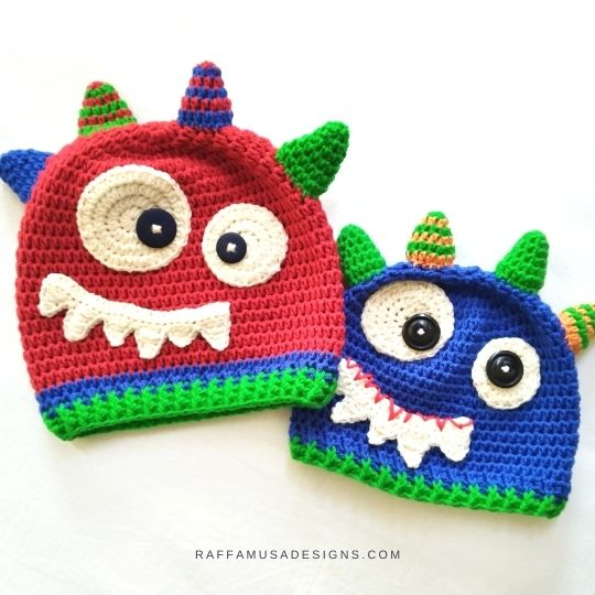 Monster Hats - Perfect Halloween Costume for your Baby Boy - Free Crochet Pattern - Raffamusa Designs