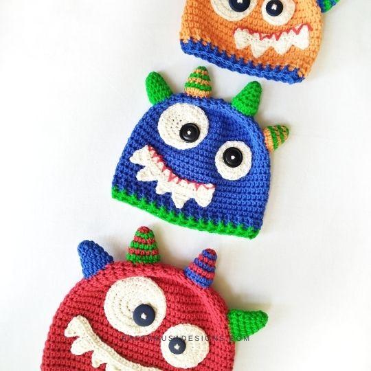 Monster Baby Beanie - Free Crochet Pattern - Raffamusa Designs