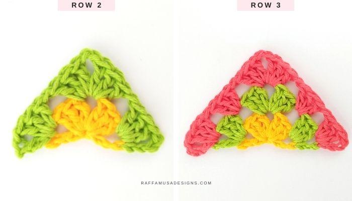 Rows 2 and 3 of a multi colored half granny square - Raffamusa Designs