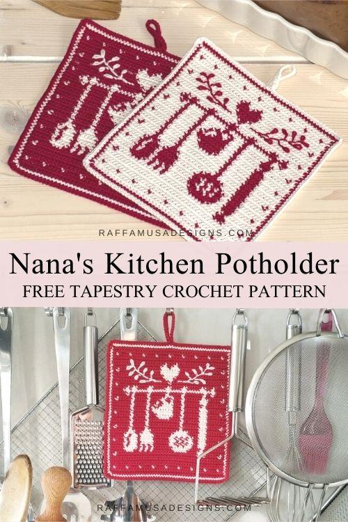 Nana's Kitchen Potholder - Free Tapestry Crochet Pattern - RaffamusaDesigns