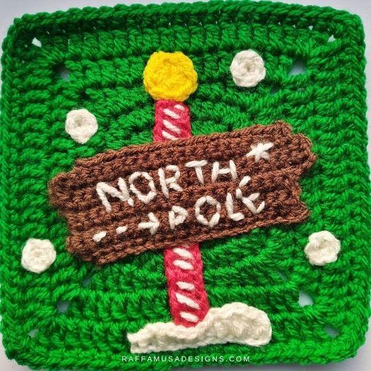 North Pole Sign Applique and Granny Square - Crochet Pattern