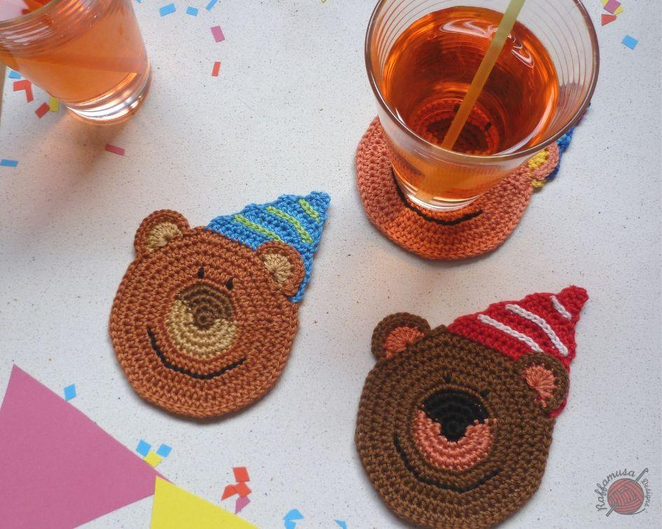 Crochet Party Bear Coasters Free Pattern