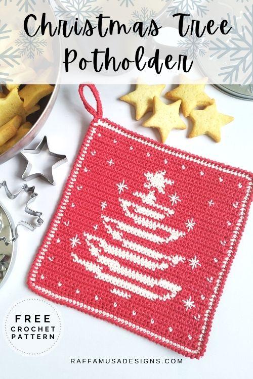 Tapestry Crochet Christmas Tree Potholder - Free Crochet Pattern for the Holidays