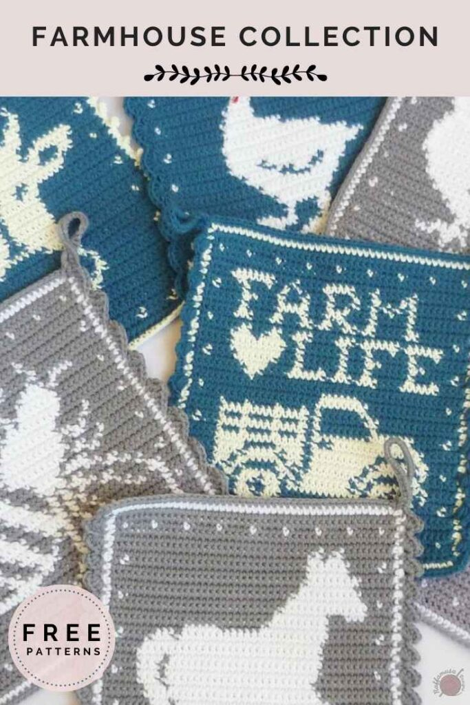 Farmhouse Collection - Tapestry Crochet Potholders - Free Patterns