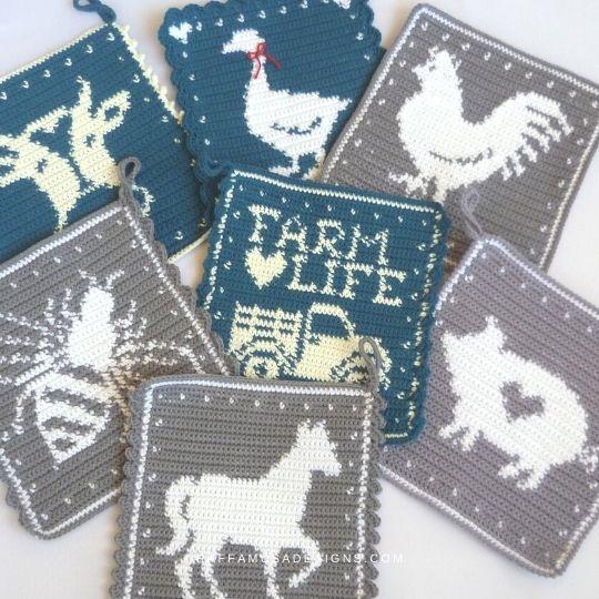 Farmhouse Collection - Tapestry Crochet Potholder Patterns - Raffamusa Designs