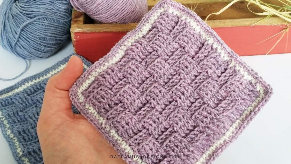 Preemie Basketweave Stitch Bonding Square - Free Crochet Pattern - Raffamusa Designs