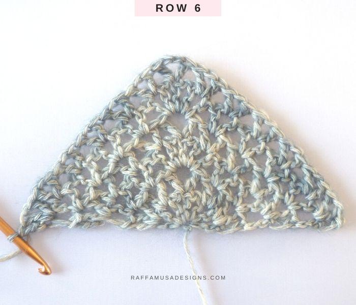 The Proserpina V-Stitch Shawl - Row 6 - Free Crochet Pattern - Raffamusa Designs