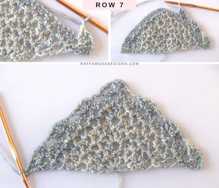 The Proserpina V-Stitch Shawl - Row 7 - Free Crochet Pattern - Raffamusa Designs
