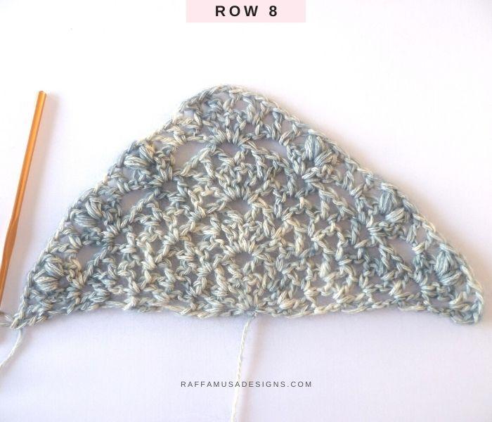 The Proserpina V-Stitch Shawl - Row 8 - Free Crochet Pattern - Raffamusa Designs