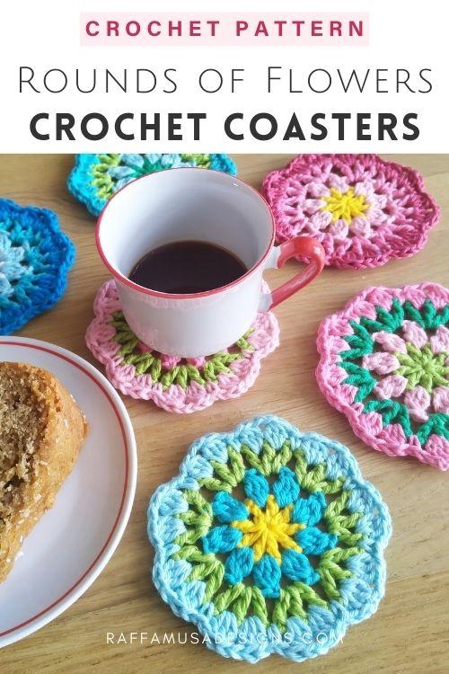 Rounds of Flowers Coasters - Free Crochet Pattern - Raffamusa Designs