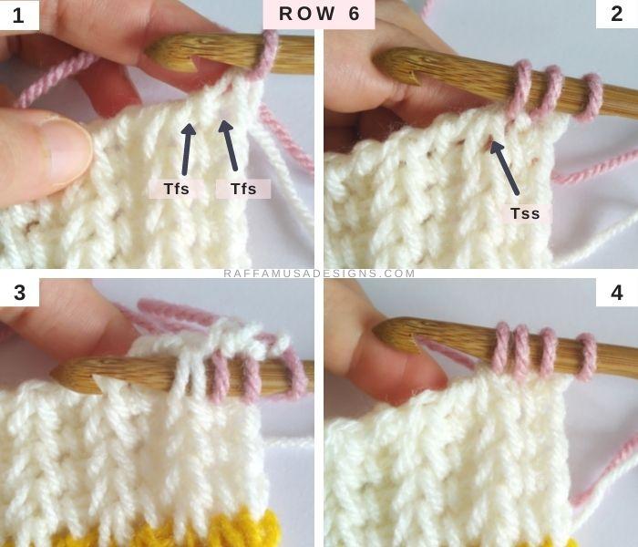 Tunisian Crochet Offset Saloniki Square - Row 6 - Afghan Block Pattern