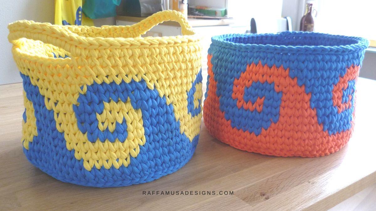 Tapestry Crochet Sea Waves Basket - Free Pattern - Raffamusa Designs