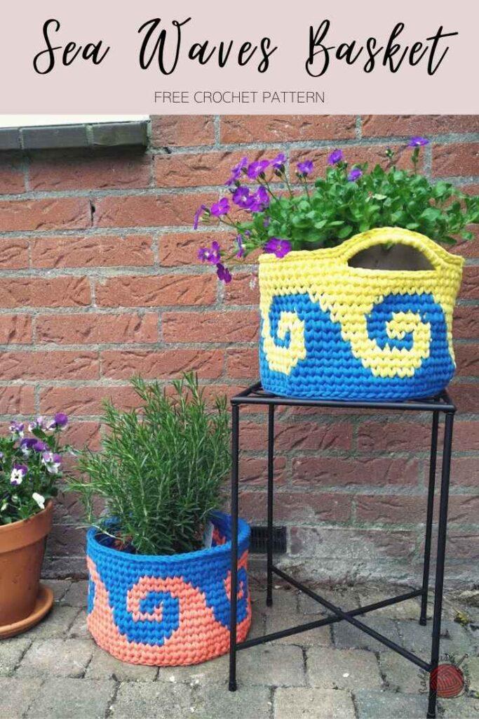 Tapestry Crochet Sea Waves Basket - Free Pattern