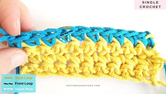 Single crochet stitch - Raffamusa Designs
