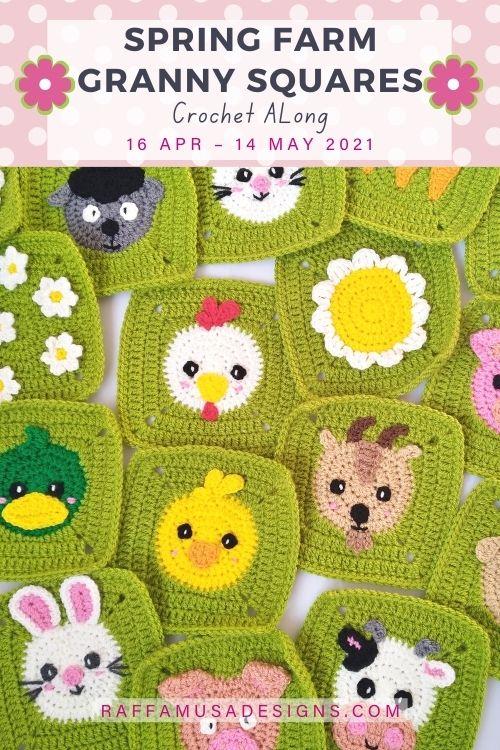 Spring Farm Granny Squares Crochet Along - Free - Raffamusa Designs