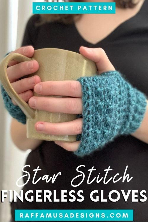 Star Stitch Fingerless Gloves - Free Crochet Pattern - Size Inclusive! - Raffamusa Designs