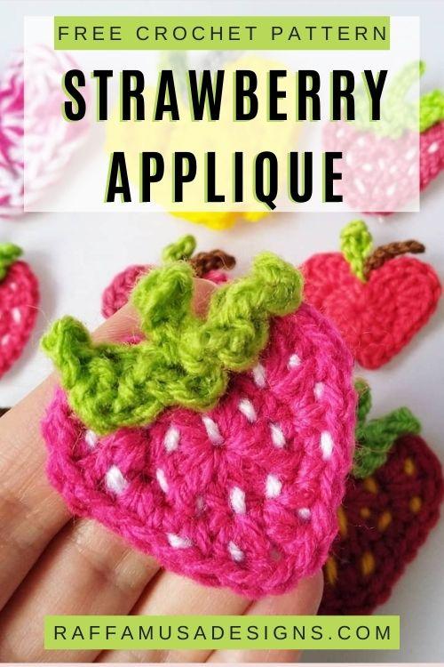 Strawberry Applique - Free Crochet Pattern - Raffamusa Designs