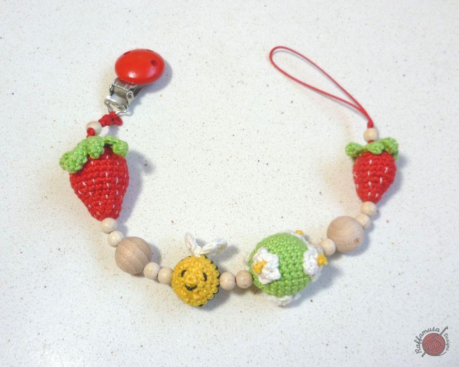 Crochet Strawberry Pacifier Clip Free Pattern