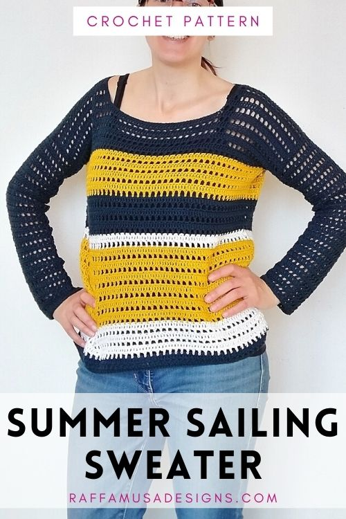 Crochet Summer Sailing Sweater - Free Pattern - XS-5XL - Raffamusa Designs