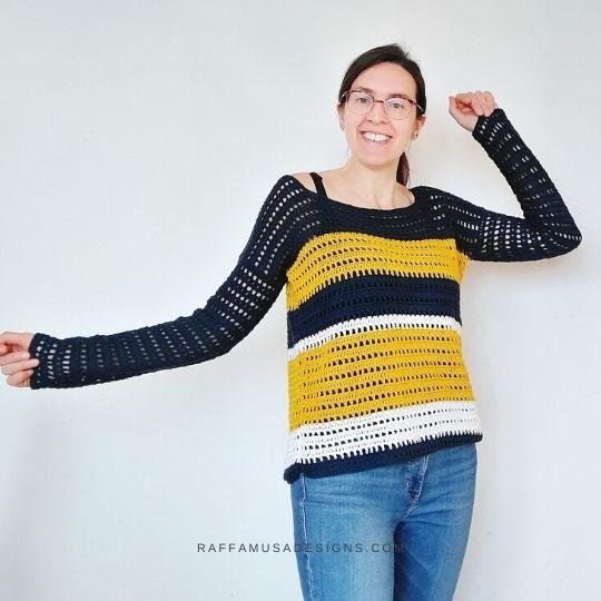 Crochet Summer Sailing Sweater - Free Crochet Pattern - Size Inclusive - Raffamusa Designs