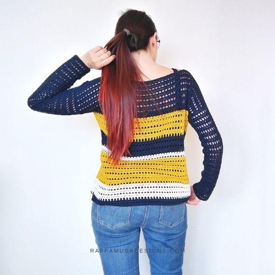 Summer Sailing Sweater - Free Crochet Pattern - Raffamusa Designs