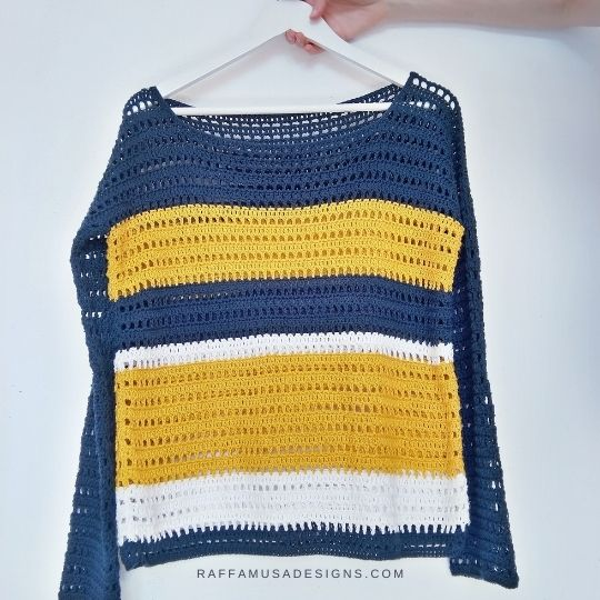 Summer Sailing Sweater Pattern - Sizes from XS to 5XL - Raffamusa Designs