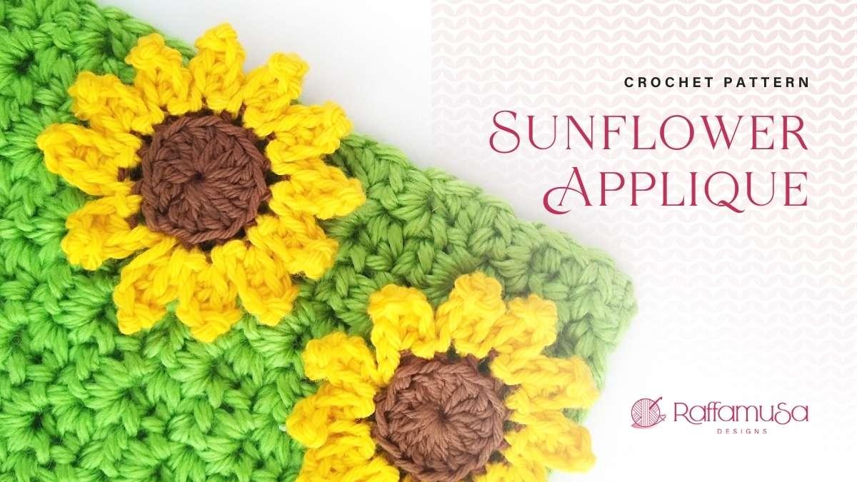 Sunflower Applique - Free Crochet Pattern - Raffamusa Designs