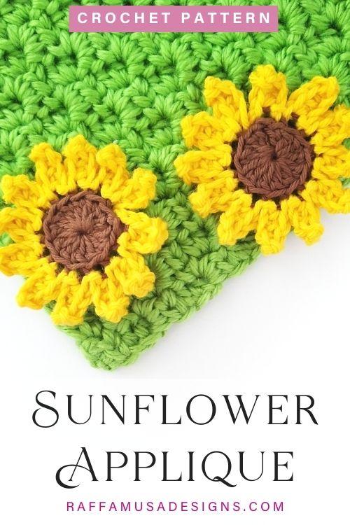 Crochet Sunflower Applique - Free Pattern - Raffamusa Designs