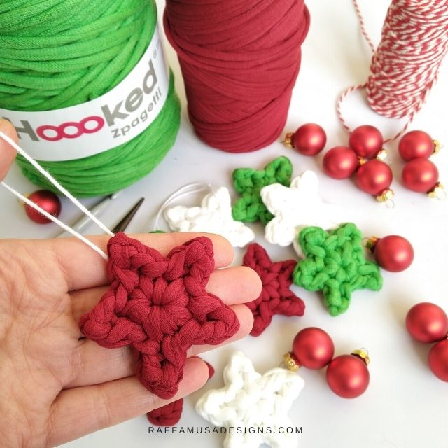 Crochet Star Ornaments made with Hoooked T-Shirt Yarn.