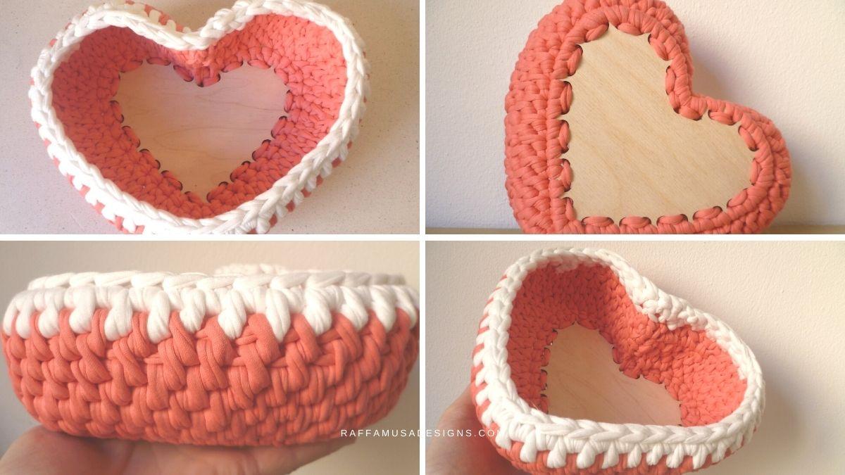 T-Shirt Yarn Heart Basket - Free Valentine's Crochet Basket - Raffamusa Designs